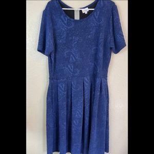 Lularoe Amelia 3X Blue Embroidered Fit Flare Dress
